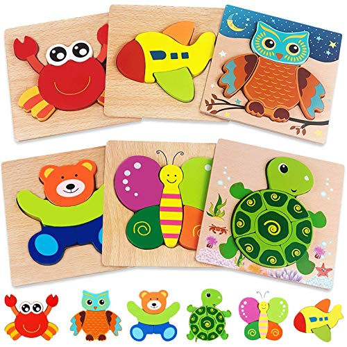 Wooden Puzzles for Toddlers 1-3 Toys Gifts for 1 2 3 Year Old Boys Girls, 6 Pack Animal Jigsaw Toddler Puzzles, Learning Educational Preschool Toys