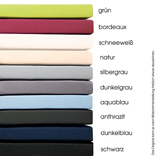 aqua-textil Pur Topper Spannbettlaken 180x200-200x200 cm anthrazit grau Boxspringbett Topperlaken 160g/qm Mako Baumwolle
