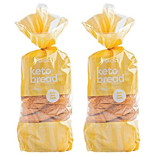 Kiss My Keto Bread Golden Wheat — Zero Carb Bread (0g Net), 6g Protein / Slice | Sugar Free, Low Carb Bread | Low Calorie, No GMOs, Soy Free & 100% Carb Free (2 Packs)