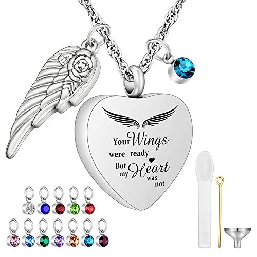 Your Wings were Ready Heart Urn Necklaces for Ashes with 12 Pcs Birthstones Cremation Necklace for Human for Pet Ashes Stainless Steel Cremation Pendant with 22 Chain But My Heart was Not