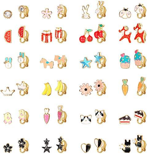 CASSIECA 24 Paare Clip Ohrringe Set für Mädchen Prinzessin Kinder Frauen Ohrclips Ohne Ohrloch Schmuck Blume Ohrringen Clip Stern Herz Mehrere Tiere Niedliches Muster Ohrringe Fake Earrings