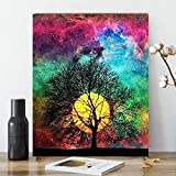 Karyees Full Moon Tree DIY Paint by Numbers Kits 20x16In DIY Oil Painting by Numbers Kits Bright Moon DIY Canvas Painting by Numbers Acrylic Painting Kits Arts for Home Wall Decor Moon Paint by Number