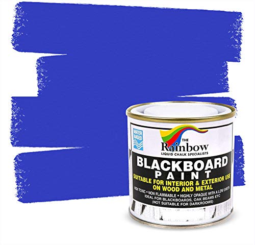 pro tapes chalk paints Chalkboard Blackboard Paint - Blue 8.5oz - Brush on Wood, Metal, Glass, Wall, Plaster Boards Sign, Frame or Any Surface. Use with Chalk Pen Wet Erase, Safe and Non-Toxic - Matte Finish