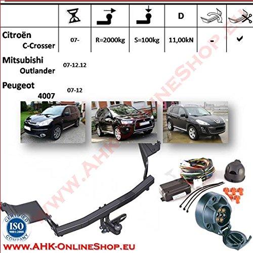 Attelage remorque avec Faisceau 7 broches | Citroen C-Crosser / Peugeot 4007 / Mitsubishi Outlander II de 2007- | col de cygne démontable avec outil