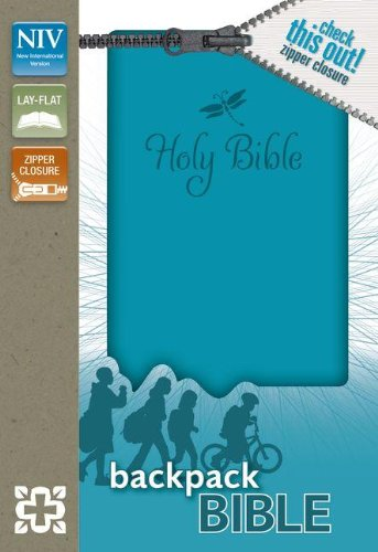 Download Holy Bible: New International Version Teal Italian Duo-Tone Zipper Closure Backpack Bible 0310733006