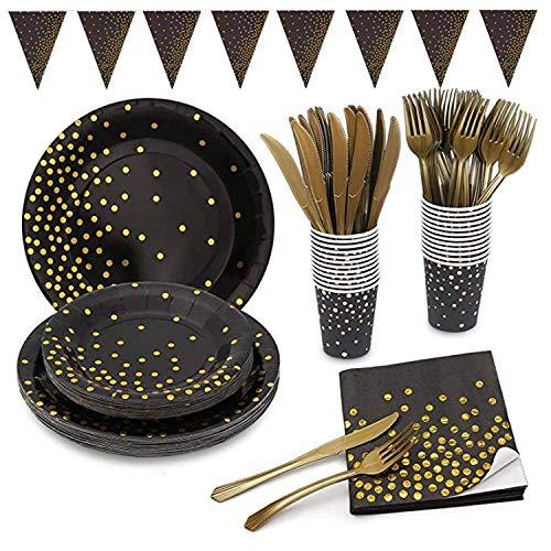 MarquisJacobs 145 Schwarz Gold Partygeschirr Folie Pappteller Servietten Becher Besteck für Hochzeit Geburtstag Jubiläum Set für 24 Gäste