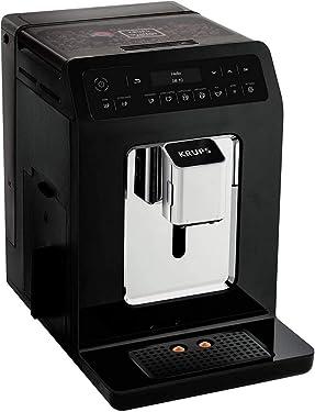 Krups EA8908 Evidence Kaffeevollautomat, OLED-Display Barista Quattro Force Technologie, 12 Kaffee-Variationen, 3 Tee-Variationen, One-Touch-Cappuccino Funktion, 2-Tassen Funktion, Schwarz-Chrome