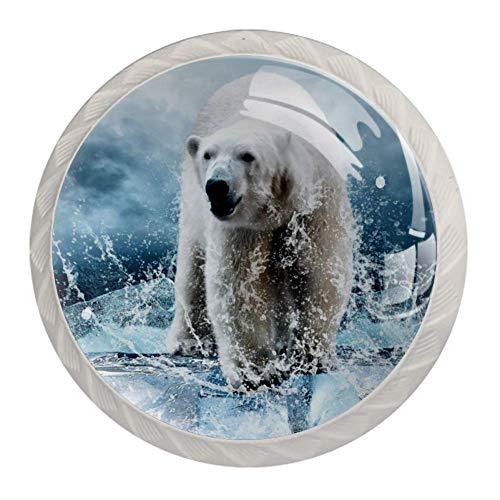 Maniglia per Porta Vintage Rotonda in plastica per armadietto Maniglia per cassetto con Linguetta 4 Pezzi per Camera da Letto e Soggiorno Orso Polare del ghiacciaio 3,5 x 2,8 cm