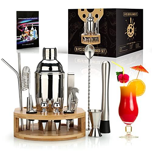 25 oz Cocktailshaker Set 16-delige Mixology Bartender Kit met Bamboo Stand – Professionele RVS Bartending Kit – Perfect…