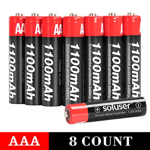 AAA Batteries Rechargeable, Soluser Rechargeable AAA Batteries 1100mAh AAA High-Capacity Batteries Rechargeable AAA Batteries 1.2V Ni-MH Low Self Discharge (AAA-8Pack)