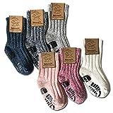 your+ ABS Kinder Norwegersocken - 3er Pack Gr. 31-34 warme Wintersocken Haussocken 40prozent Wolle naturwarm & flauschig (die Socken fallen groß aus) - (31-34, Weiß-Rosa)