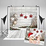 Weihnachtshintergrund für Fotografie Weihnachtskugeln Weißer Holzboden 5x7ft Vinyl Stoff gedruckt Baby Fotohintergründe Studio Hintergrund