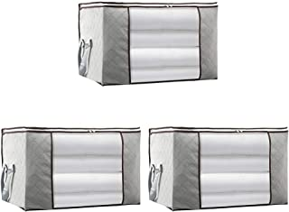 TOPBATHY 3pcs Non-Woven Bedding Storage Bag Breathable Two-Way Zipper Clothes Storage Bag for Blanket,Quilt and Mattress(G...