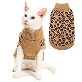 Mihachi Winter Leopard Warm Cat Sweater Fashion Knit Vest for Cats Puppy Small Animals Brown L