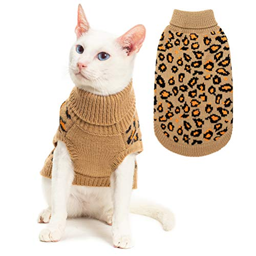 Mihachi Winter Leopard Warm Cat Sweater Fashion Knit Vest for Cats Puppy Small Animals Brown M