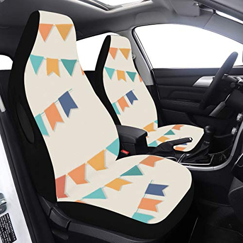 Car Driver Seat Cover Popular Bunting Flags Decor Covers Car 2 Pcs Universal Fit Airbag Compatible for for Car SUV Auto Truck Seat Covers for Cars Full Set