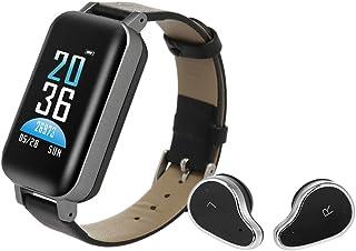 KKmoon TWSスマートウォッチイヤホン 2-in-1ワイヤレスBTヘッドフォン IP6 防水 スマートブレスレット フィットネストラッカー 歩数/距離/消費カロリー/心拍数/睡眠質監視/活動分 Android 4.4以上/iOS 8.0以...