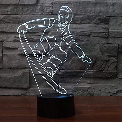 Luminaria Slaapkamerlamp, studiotafel voor kinderen, 3D, snowboard, tafellamp, 3D, USB, visual, LED-nachtlampje, kleurrijk, slaapkamerlamp, model Luminaria, cadeaus, nieuwjaar, decoratie met afstandsbediening