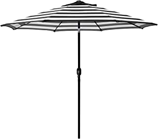 ABBLE Outdoor Patio Umbrella 9 Ft Stripe with Crank and Tilt, Weather Resistant, UV Protective Umbrella, Durable, 8 Sturdy Steel Ribs, Market Outdoor Table Umbrella - Black and White