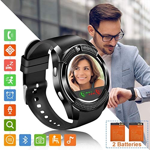 Tipmant Reloj Inteligente Mujer Hombre SN08 Smartwatch Pantalla táctil con Ranura para Tarjeta SIM Cámara Podómetro Pulsera de Actividad para Smartwatch para Xiaomi Samsung Huawei Android iOS (Negro)