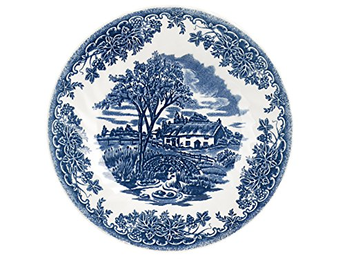 Churchill Brook Blue - Juego de 6 platos de postre, color blanco y azul
