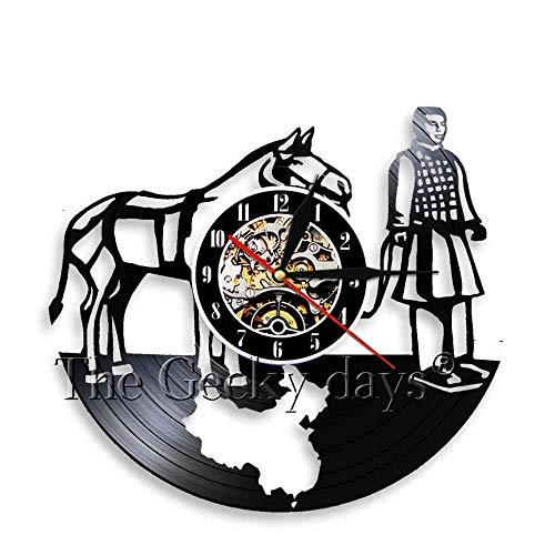 TJIAXU Xian Chinese Terracotta Warriors Pferd Vinyl Schallplatte Wanduhr Retro 3D Wanduhr Persönlichkeit Wanddekoration für Wohnzimmer