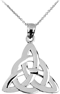 14k White Gold Traditional Celtic Trinity Knot Pendant Necklace