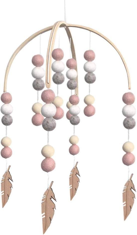 Perle en bois carillon /éolien guirlande boule de laine berceau tenture murale chambre denfant cadeau photographie ornements