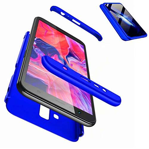 JJWYD Funda para Samsung Galaxy J6 Plus + Gratis Cristal Templado, para Samsung Galaxy J6 Plus/J6+ Funda 3 in 1 Hard Caja Caso PC Protective Ultra Delgado Anti-rasguños Case Caso - Azul