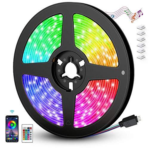AGPTEK Striscia LED 5M Autoadesiva 5050 RGB Luci Colorate WIFI o il Telecomando di 24-tasti con la Musica/Vocale Adatto per TV,Camera da letto,Decorazioni per Feste Natale e per la Casa[Classe A+++]