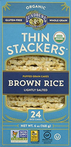 Lundberg Family Farms Thin Stackers Brown Rice Lightly Salted Grain Cakes, 5.9 Ounce
