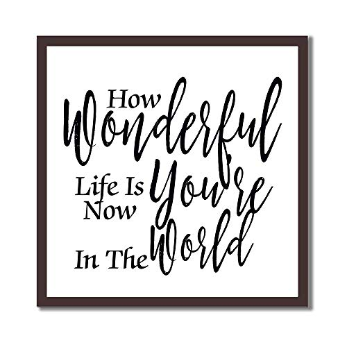 tian huan88 Wood Framed Wall Decor Signs with Inspirational Quote 12x12 Inch - How Wonderful Life Is Now You'Re In The World