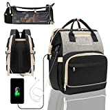 Diaper Bag Backpack with Changing Station, 6 in 1 Travel Bassinet Baby Bed with Sunshade, Baby Backpack Folding Crib, Multifunctional Mummy Bag, Large Capacity, USB, Headphone Port(2020 Black-Gray)