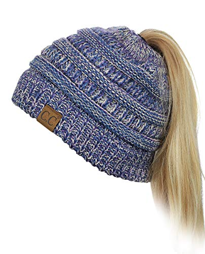 C.C BeanieTail Soft Stretch Cable Knit Messy High Bun Ponytail Beanie Hat, Blue/Purple/Gray