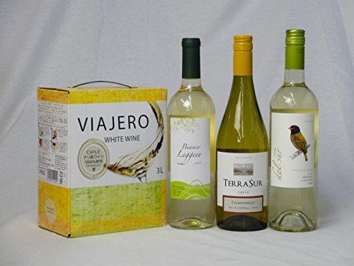 ワインセット チリ産大容量白ワイン飲み比べセット(VIAJERO(ヴィアヘロ 白ワイン 3000ml クレマスキ リゲロ ビアンコ チリ白ワイン 750ml テ
