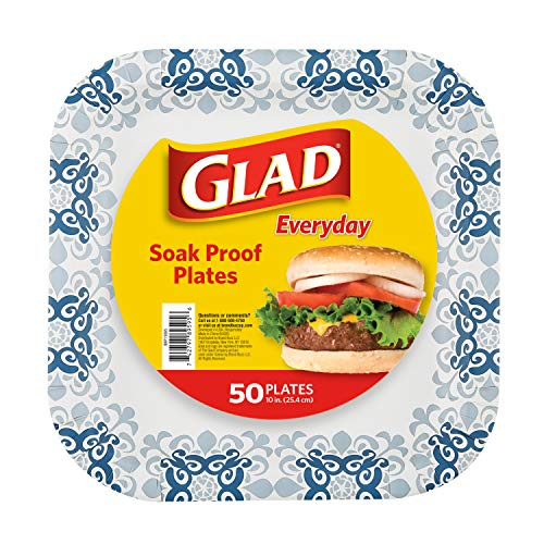Glad Printed Disposable Paper Plates, 50 Count 10 Inch | Heavy Duty Paper Plates with Beautiful Printed Design, Soak Proof | 50 Count Square Paper Plates | Disposable Plates, Party Paper Plates