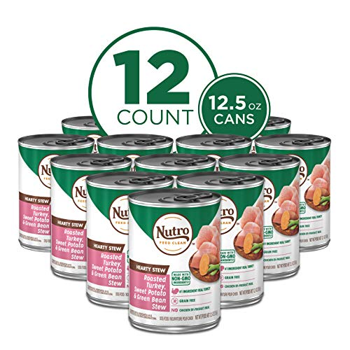NUTRO HEARTY STEW Adult High Protein Natural Wet Dog Food Cuts in Gravy Roasted Turkey, Sweet Potato & Green Bean Stew, (12) 12.5 oz. Cans