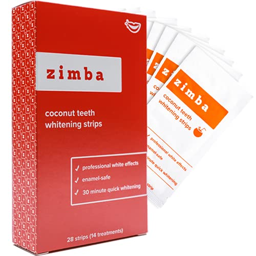 Zimba Teeth Whitening Strips, 28 Non-Sensitive White Strips Teeth Whitener for Tooth Whitening, Helps Remove Smoking Coffee Soda Wine Stain, 28 Strips (14 Stain Removal Treatments) (Coconut, 1 Pack)
