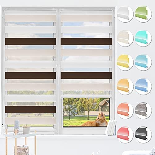 HOMEDEMO Doppelrollo Klemmfix ohne Bohren & mit Bohren, Rollos für Fenster und Tür, (Weiss-beige-braun, 70x120cm) Duo Rollo Klemmrollo lichtdurchlässig, Fensterrollo Sichtschutz