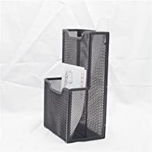 Stock Show 1Pcs Mesh Collection 2-Pocket Metal Wall Mounted Postcard Caddy/Chopsticks Holder/Tableware Container/Stationery Sorter, Black