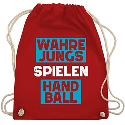 Sport Kind - Wahre Jungs spielen Handball blau/weiß - Unisize - Rot - Geschenk - WM110 - Turnbeutel und Stoffbeutel aus Baumwolle