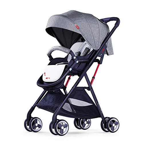 WYX-Stroller Kinderwagen, Hochlandkinderwagen, Stubenwagen, Faltbarer Kinderwagen Mit Verstellbarem Baldachin, Aufbewahrungskorb,Gray