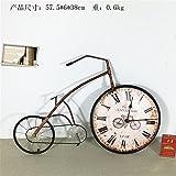 Komo silencioso Moderno Decoración Adorno para Hogar Relojes creativos, Dibujos Animados en Tres Dimensiones de Bicicletas Antiguas de Hierro artesanales Decoración de Pared Reloj de Pared