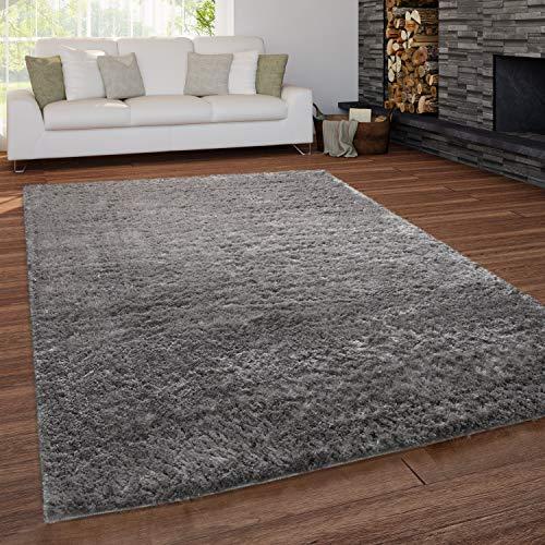 Paco Home Teppich Wohnzimmer Shaggy Hochflor Waschbar Einfarbiges Design, Grösse:140x200 cm, Farbe:Grau