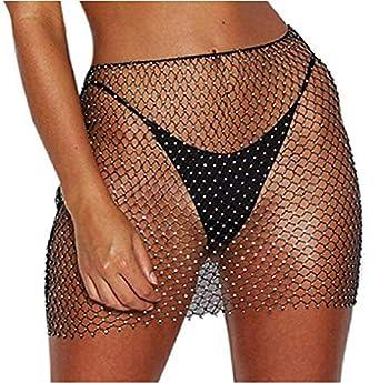 Koloyooya Women Sexy See-Through Fishnet Skirt Swimwear Cover-up Beach Sexy Swimsuit Lingerie  Black Skirt OneSize