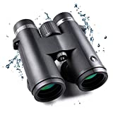 FREE SOLDIER 10x42 Waterproof Binoculars for Adults HD Professional Binoculars for Bird Watching with BAK4 Prism FMC Lens Compact Binoculars for Hunting Hiking Sightseeing Travel Game, Black