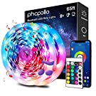 phopollo Bluetooth Led Lights for Bedroom, 65.6ft Led Light Strips Music Sync House and Holiday Decoration