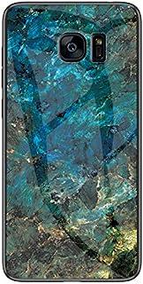 Galaxy S7 Edge ケース 大理石柄 全面保護カバー レンズ保護 上品 サムスン ギャラクシー 傷防止 薄型 背面硬化ガラス ワイヤレス充電対応(Univo Color) 専用カバー(翡翠ブルー)