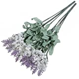 Broadfashion 1x 10 Heads Artificial Lavender Silk Flower for Bouquets Wedding Home Party Decor (White)