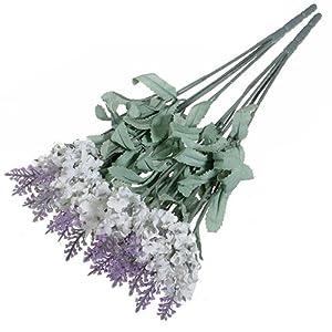 Silk Flower Arrangements Broadfashion 1x 10 Heads Artificial Lavender Silk Flower for Bouquets Wedding Home Party Decor (White)